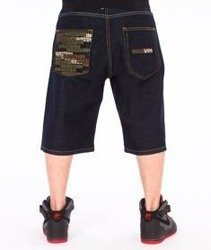 Mass-Phat Camo Shorts Baggy Dark Blue