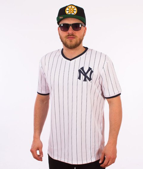Majestic-New York Yankees Longline MLB Warm Up Poly T-shirt Biały