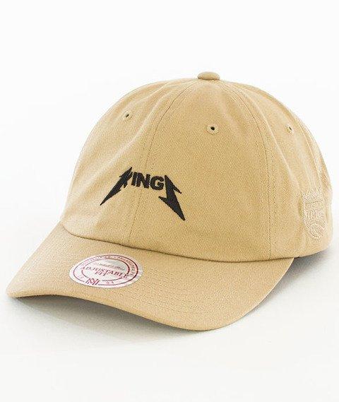 Mitchell & Ness-Sacramento Kings Rock Font Dad Hat Snapback Khaki