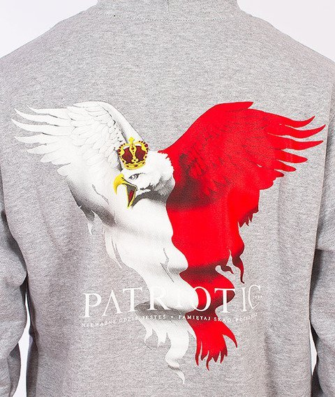 Patriotic-Eagle Bluza Kaptur Rozpinana Szara
