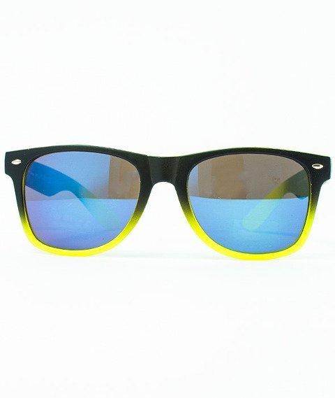Patriotic-Futura Mat Okulary Czarne-ŻółteCieniowane-Zielone/Niebieskie