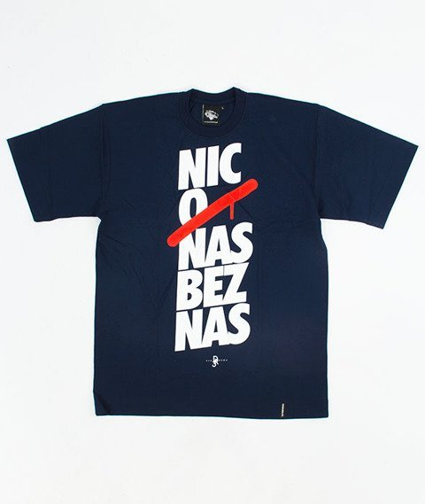 Pihszou-Nic O Nas Bez Nas T-shirt Granatowy