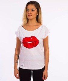 Ganja Mafia-Off SH Lips T-Shirt Damski Biały