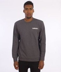 Carhartt-College Script Sweatshirt Dark Grey Heather/White