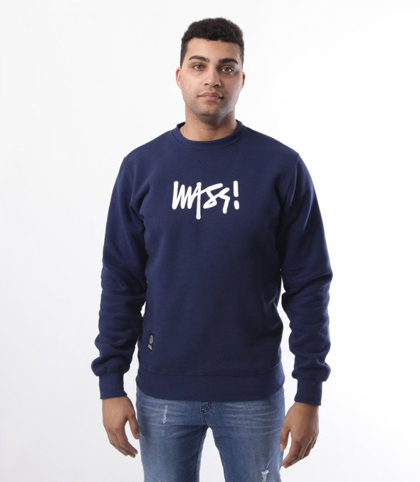 Mass-Mass- bluza Sweatshirt Crewneck Signature medium logo Granatowa
