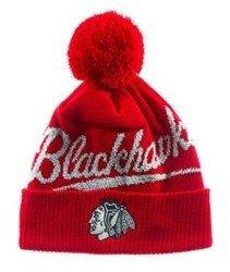 Mitchell & Ness-Chicago Blackhawks Greyton Script Pom Beanie KV98Z Czapka Zimowa Czerwona