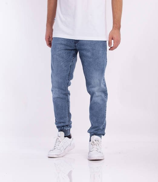 Smoke Story SKIN Jogger Slim Jeans Wycierane Light Blue