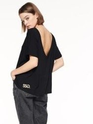 SmokeStory-Backless T-shirt Damski Czarny