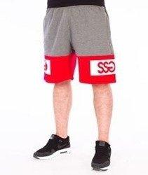 SmokeStory-Double SSG Premium Krótkie Spodnie Dresowe Szare/Czerwone