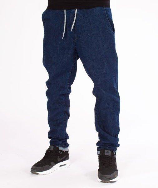 SmokeStory-Stretch Skinny Jeans z Gumą Spodnie Medium Blue
