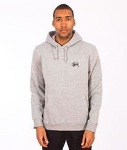 Stussy-Basic Logo Hood Grey Heather