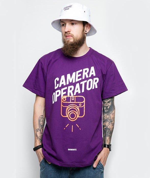Diamante-Camera Operator T-Shirt Fioletowy