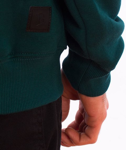 Biuro Ochrony Rapu-Classic Borcrew Outline Bluza Kangurka Kaptur Ciemny Zielony