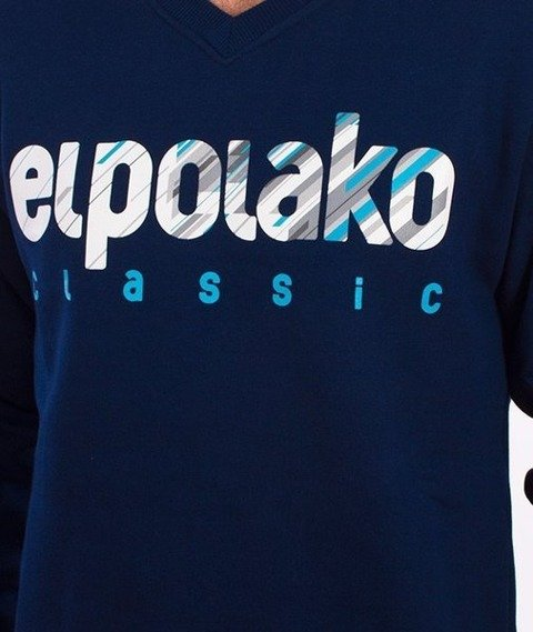 El Polako-Shadow V-Neck Bluza Granatowa