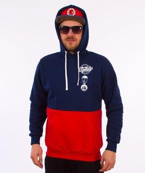 El Polako-Style Bluza Kaptur Granatowy/Czerwony