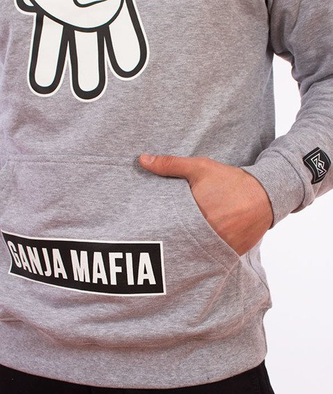 Ganja Mafia-Cartoon Sign Bluza Kaptur Szara