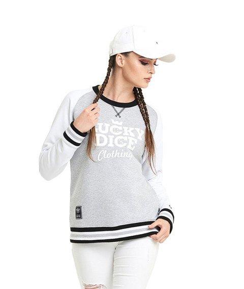 Lucky Dice-College Raglan Bluza Damska Szara/Biała