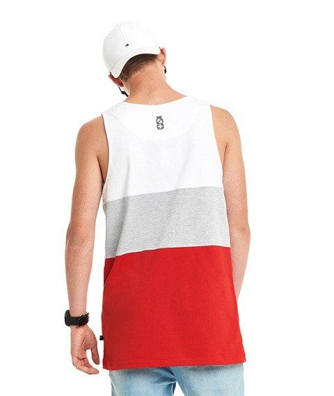 Lucky Dice-Cut Color Tank Top Biały/Szary/Czerwony