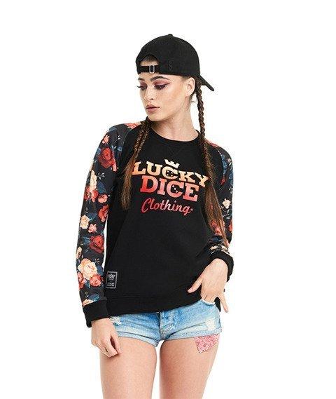 Lucky Dice-Flowers Raglan Bluza Damska Czarna
