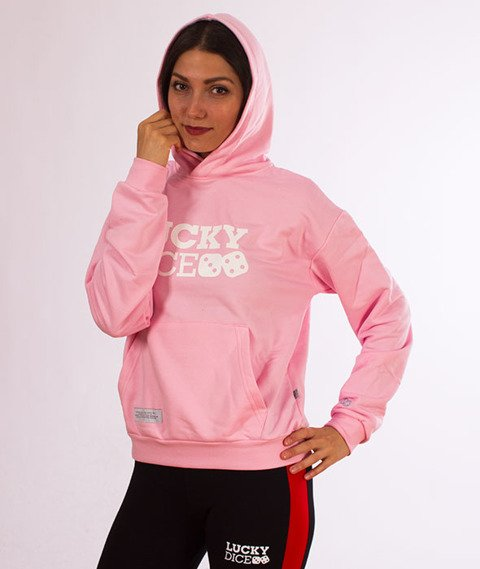 Lucky Dice-Logo Hoodie Bluza Damska Kaptur Rózowa