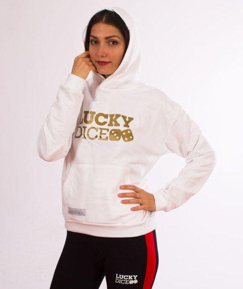 Lucky Dice-Logo Hoodie Bluza Damska Kaptur Biała/Złota