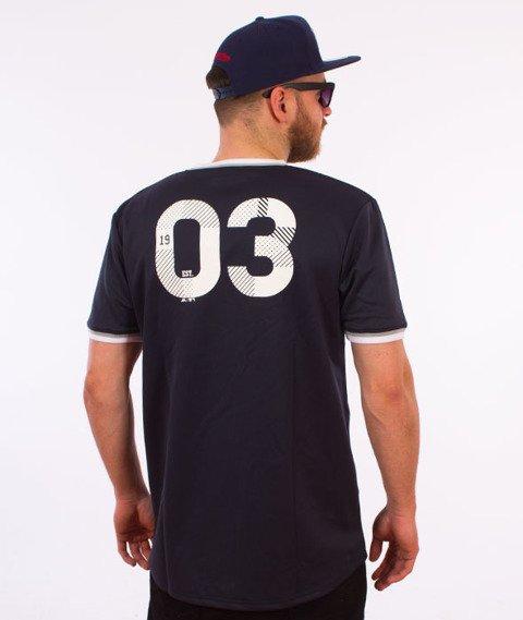 Majestic-New York Yankees Longline MLB Warm Up Poly T-shirt Granatowy