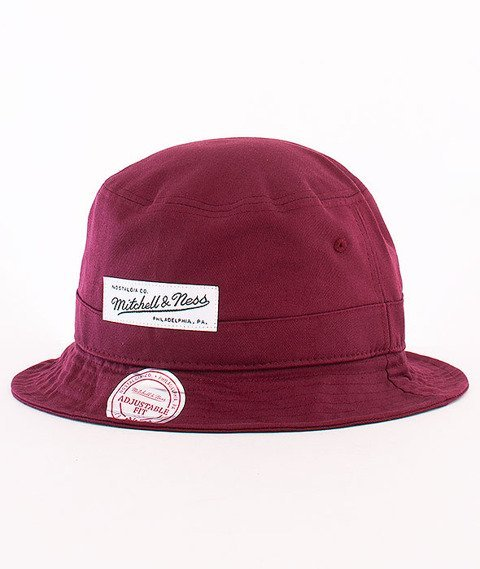 Mitchell & Ness-Label Logo Bucket Hat Burgundy EU488