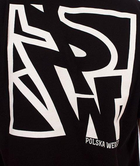 Polska Wersja-PW Tył Kwadrat T-shirt Czarny