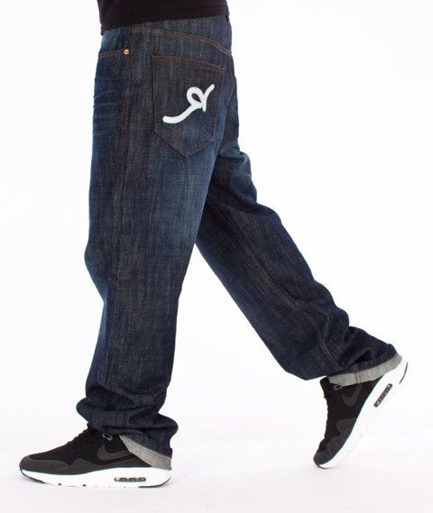 RocaWear-Dark Blue Loose Fit Spodnie Jeans R00J9914E 856