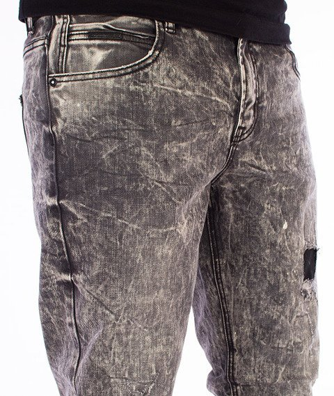 RocaWear-Destroyed Dark Grey Wash Slim Fit Spodnie Jeans R1608J400 887