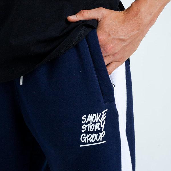 Smoke Story RAGLAN SMOKE Spodnie Dresowe Slim Granatowy