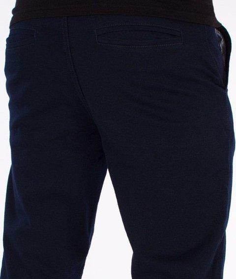 SmokeStory-Chino Slim Spodnie Z Wywinięciem Granatowe