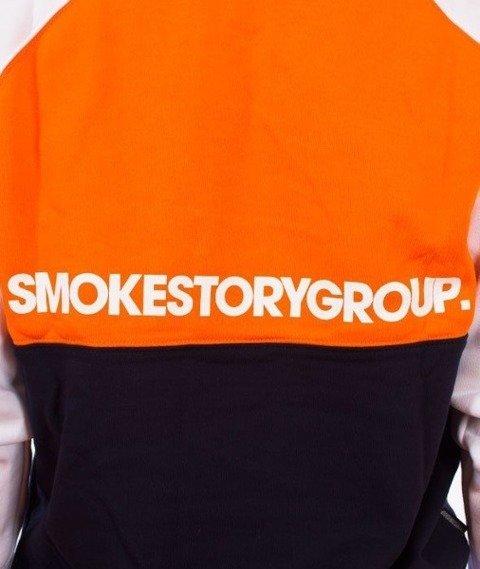 SmokeStory-Colorfull Bluza Kaptur Premium Pomarańczowy/Granatowy