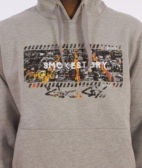 SmokeStory-Dark City Frame Bluza Kaptur Szary