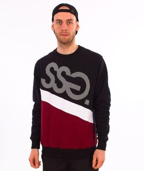SmokeStory-Dots Triple Crewneck Bluza Czarny/Bordo