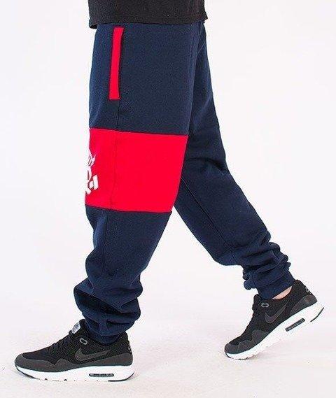 SmokeStory-Double Color Regular Spodnie Dresowe Granatowe/Czerwone