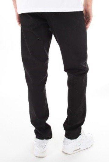 SmokeStory-Jeans Stretch Straight Fit Guzik Spodnie Tkanina Czarny