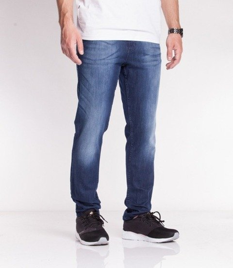 SmokeStory-Jeansy Stretch Straight Fit Premium Guzik Spodnie Dark Cieniowane