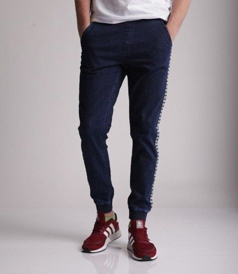 SmokeStory-Jogger Biały Lampas Slim Jeans Spodnie Medium Blue