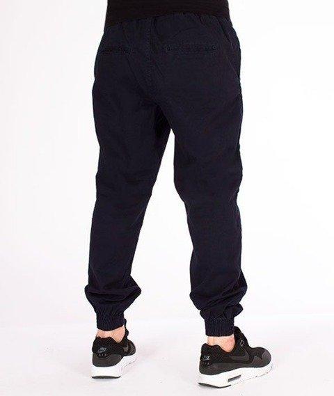 SmokeStory-Jogger Regular z Gumą Tkaninowe Spodnie Granat