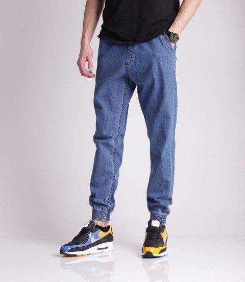 SmokeStory-Jogger Slim Jeans Slim Haft Spodnie Light Blue