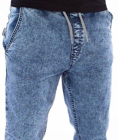 SmokeStory-Premium Jeans Stretch Straight Fit z Gumą Spodnie Marmurek Light