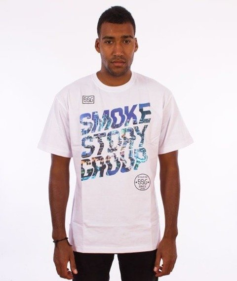 SmokeStory-SMG Slant T-Shirt Biały