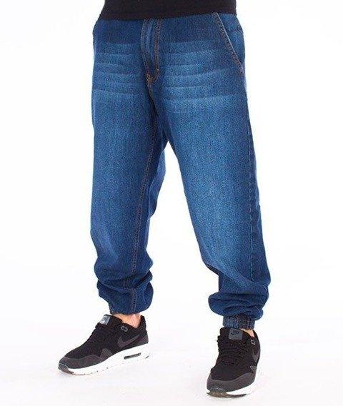 SmokeStory-SSG Tag Jogger Jeans Regular Spodnie Wycierane Niebieskie