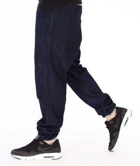 SmokeStory-Szary Dół Jogger Slim Spodnie Dark Blue