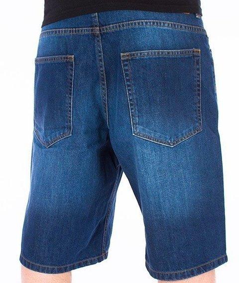 SmokeStory-Szorty Jeans Spodnie Krótkie Wycierane Medium Blue