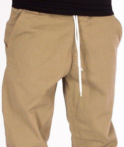 SmokeStory-Tkaninowe Jogger Regular Spodnie Beżowe