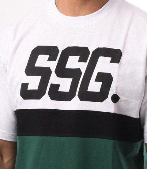 SmokeStory-Triple Line T-Shirt  Biały/Zieleń