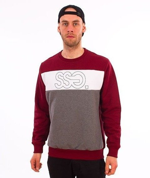 SmokeStory-Triple Outline Crewneck Bluza Bordo/Szary