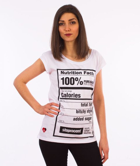 Stoprocent-Nutri T-Shirt Damski Biały